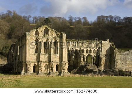 Rievaulx Abbey is a former Cistercian abbey headed by the Abbot of Rievaulx. It is located in Rievaulx, near Helmsley in the North York Moors National Park, North Yorkshire, England. - stock photo