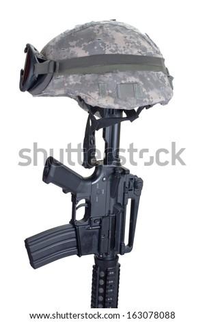 Rifle and Helmet Memorial - stock photo