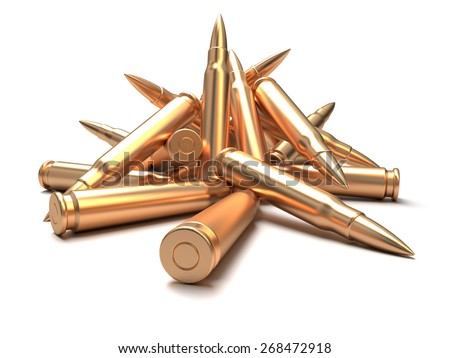 Rifle bullets over white background - stock photo