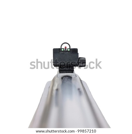 Rifle first person, isolated on white background with clipping path - stock photo