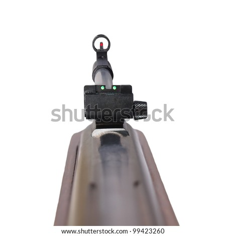 Rifle first person,  isolated on white background with clipping path. 3D photo - stock photo