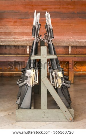 Rifle Handle Spring Assisted Knife  - stock photo