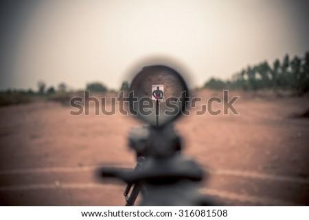 rifle target view  - stock photo