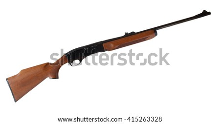 Rifle that is semi automatic with a wood stock isolated on white - stock photo
