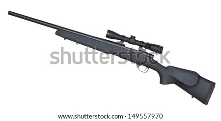 Rifle that is set up to make mid range shots reliably - stock photo