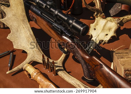 rifle with horns - stock photo