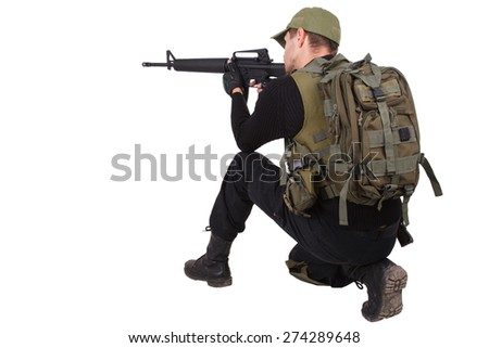 rifleman with m16 rifle isolated on white