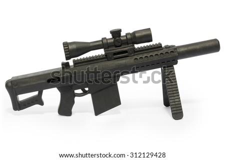 Rifles toy,white background.
