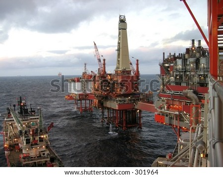 Rig and production facility on north sea oil field.