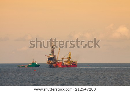 Rig for production oil and gas in offshore, Rig platform working on the platform for drilling and find oil and gas, Heavy industry.