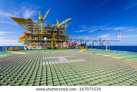 rig in the gulf of thailand - stock photo