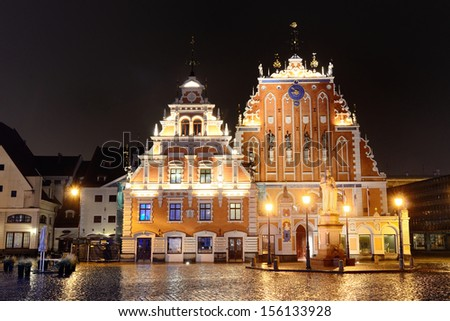 Riga Blackheads house by night - stock photo