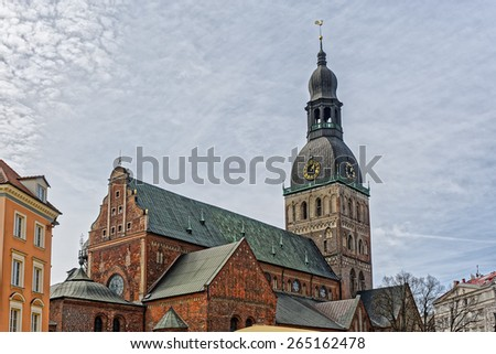Riga Cathedral (Latvian: R?gas Doms) is the Evangelical Lutheran cathedral in Riga, the capital of Latvia. The Riga Cathedral is one of the most recognizable landmarks in Latvia - stock photo