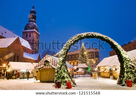 Riga Cathedral square in Christmas - stock photo