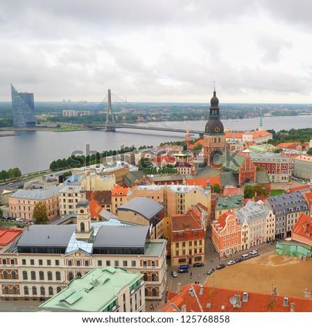 Riga center with Daugava river. View from above - stock photo