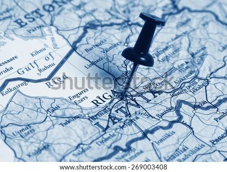Riga  destination in the map - stock photo