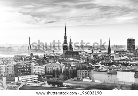 Riga in 32bit HDR image, black and white . - stock photo