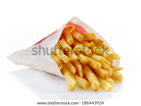 Riga,Latvia-April 09, 2014. McDonald's French fries on a white background. McDonald's Corporation is the world's largest fast food restaurant. - stock photo