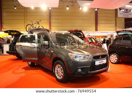 RIGA, LATVIA - APRIL 30: Mitsubishi ASX during Riga International Motor Show on April 30, 2011 in Riga, Latvia.