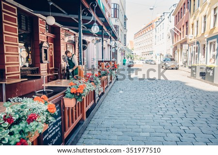 RIGA, LATVIA - CIRCA JULY 2014: buildings in the old town in Riga, Latvia on a sunny warm day in July 2014.