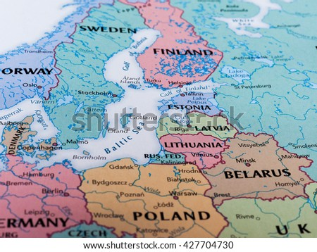 RIGA, LATVIA - CIRCA MAY 2016: Map of Latvia with selective focus on name of country - stock photo