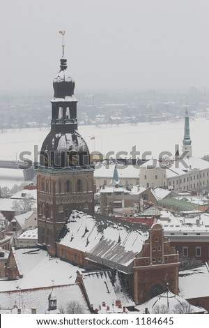 Riga, Latvia, Doms on winter, view from St.Peter's Church