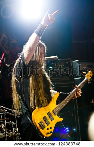 RIGA, LATVIA - FEB 25: Todd Ellis from technical death metal band NILE performing at Black Friday's Club on February 25, 2011 in Riga, Latvia. - stock photo