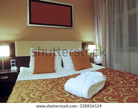 Riga Latvia four star hotel room bedroom - stock photo