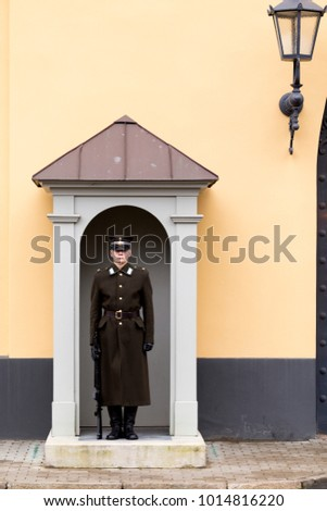 RIGA, LATVIA - JANUARY 4, 2018: Changing the guard of honor at Riga Castle - Presidental residence and national museum.
