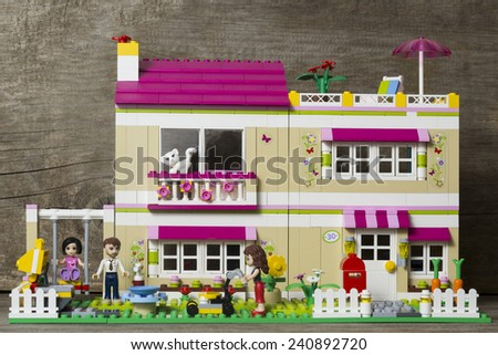 Riga, Latvia - January 1st 2015: Lego Friends Olivia's House. Item 3315. Lego is a popular line of construction toys manufactured by the Lego Group - stock photo
