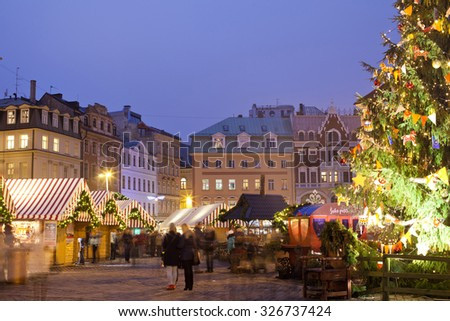 Riga, Latvia, 03 January - 2014. There is a Christmas market in Riga Dome square