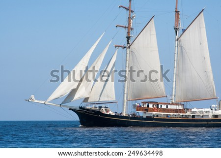RIGA, LATVIA - JULY 29 2013: Regatta The Tall Ships Races 2013. Sailing ships are leaving the river Daugava and come to the Baltic sea.
