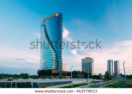 Riga, Latvia - June 30, 2016: Central Building Swedbank In Riga, Latvia. Swedbank Has 9.5 Million Retail Customers And 622,000 Corporate Customers In Sweden, Estonia, Latvia, And Lithuania.