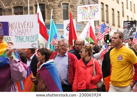 RIGA, LATVIA - JUNE 2: LGBT Pride advocates work for equal rights and benefits for  lesbian, gay, bisexual, and transgender people, 2012