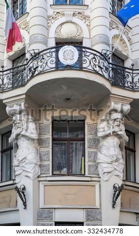 Riga, Latvia - May 3: Art Nouveau facade decoration  in Riga, Latvia on May 3 2015. Art nouveau architecture is one of Riga claims to fame. - stock photo
