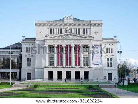 Riga, Latvia - May 3: National Opera in Riga, Latvia on May 3 2015. The National Opera House was constructed in 1863 by the St. Petersburg architect Ludwig Bohnstedt - stock photo