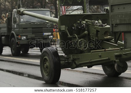 RIGA, LATVIA - November 18, 2016: Military transport at the parade at the Independence Day of Latvia in the Latvian capital Riga
