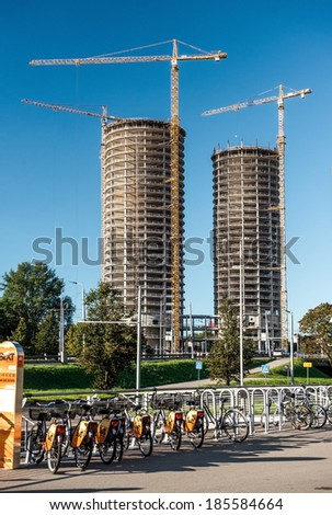 RIGA, LATVIA-OCTOBER 08: Final stage of modern building construction on October 08, 2013 in Riga, Latvia   - stock photo