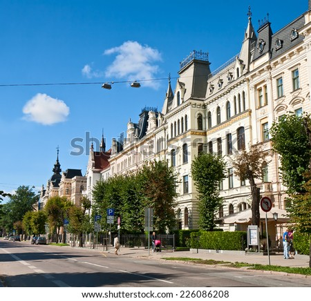 RIGA, LATVIA - SEPTEMBER 01, 2014 - Art Nouveau district, Elizabetes street - stock photo