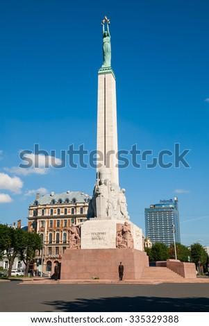RIGA, LATVIA - SEPTEMBER 04, 2014 - Freedom Monument in Riga, Latvia. - stock photo
