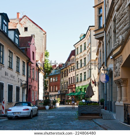 RIGA, LATVIA - SEPTEMBER 01, 2014 - The street in old town, Riga, Latvia - stock photo