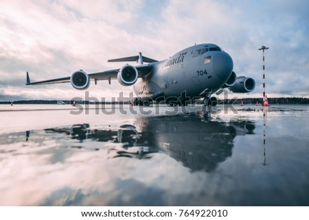 RIGA, NOVEMBER 15, 2017 - Royal Canadian Air Force Boeing CC-177 Globemaster III military airplane landed in Riga airport