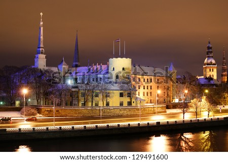 Riga presidential palace by night