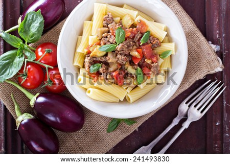 Rigatone with eggplant bolognese sauce healthy and delicious - stock photo