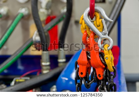 Rigging Equipment on a Hook and Crane - stock photo