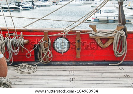 Rigging of an ancient sailing vessel - stock photo