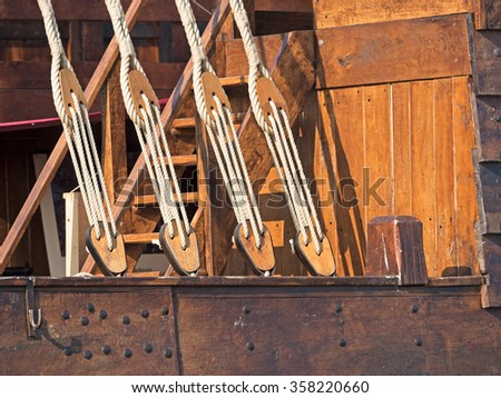 Rigging of an old sailing ship detail - stock photo