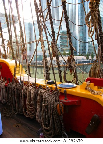 Rigging on a tall ship - stock photo