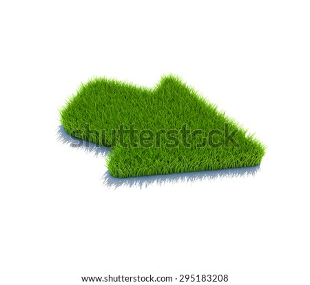 Righ arrow symbol from grass. 3d render isolated on white. - stock photo