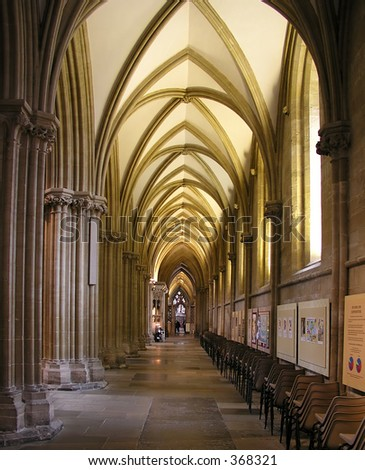 Right aisle inside Wells Cathedral